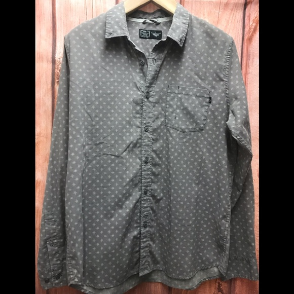 Nike large gray/white long sleeve button down